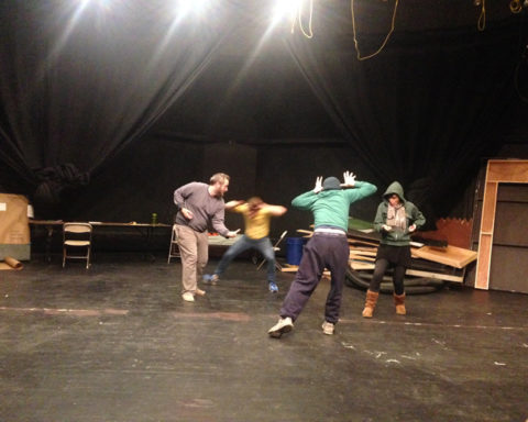 """Kickwheel Ensemble Theater rehearsing its newest original theater piece, """"PASSAGE,"""" at Millbrook School, submitted photo."""