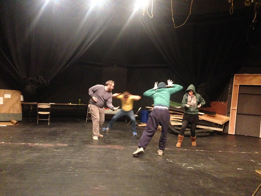 "Kickwheel Ensemble Theater rehearsing its newest original theater piece, ""PASSAGE,"" at Millbrook School, submitted photo."