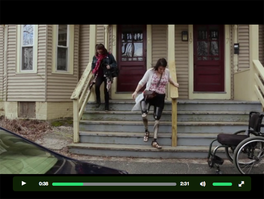 "For eight years, Clara Gardner (right) has been using socket-type prosthetic legs, which have changed surprisingly little in five centuries. Click this image to see the trailer for ""The Next Step,"" at the film's Kickstarter page, and to find out more about the procedure known as osseointegration that she hopes will return much of her mobility."